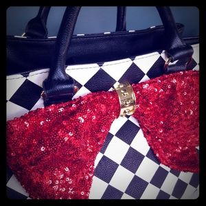 Checkerboard Betsey Johnson Purse red Bow